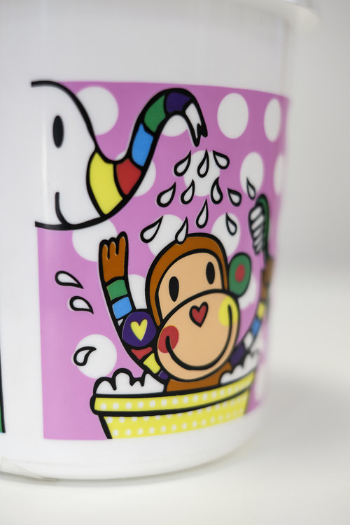7 soit color screen printing on toy bucket