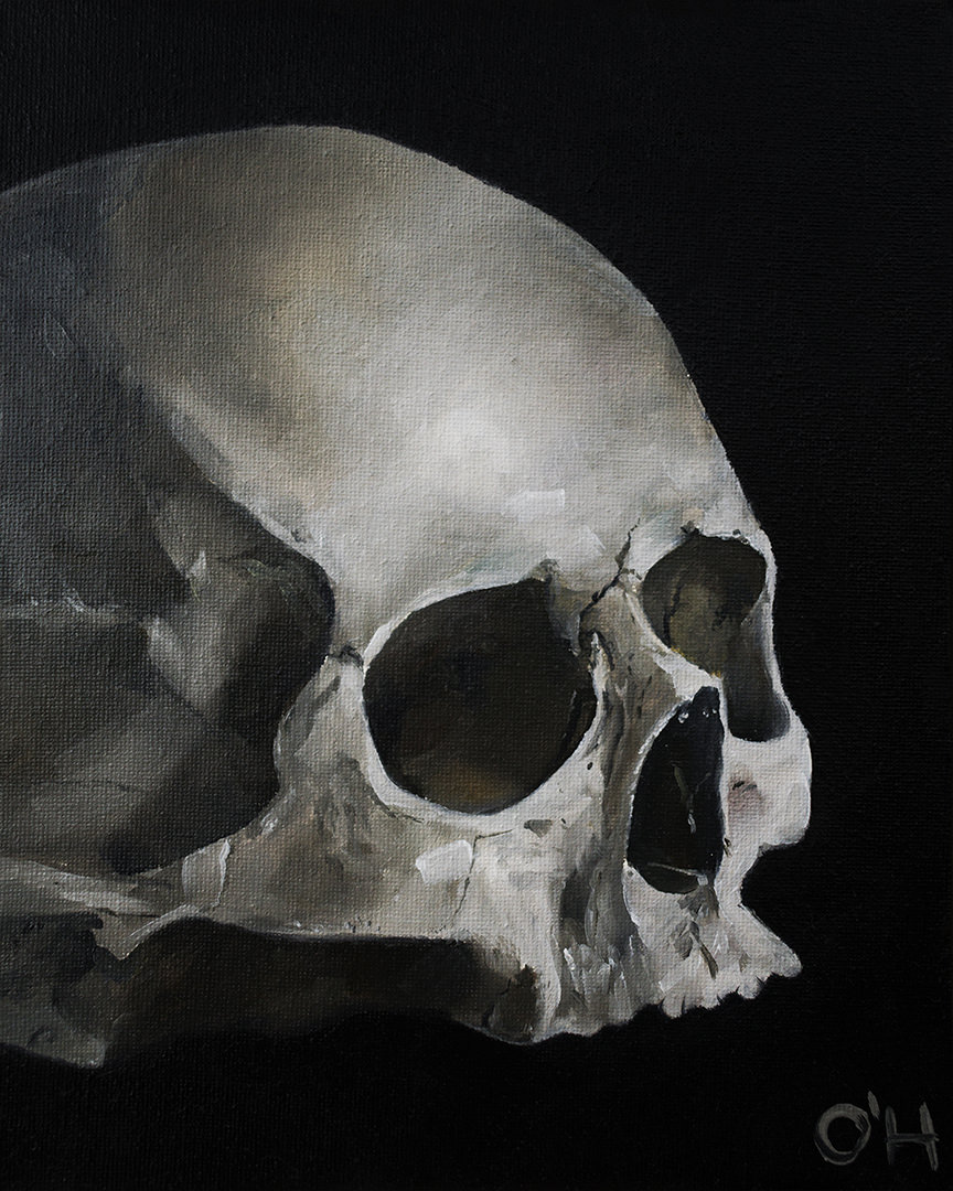 Skull #2, oil on canvas, 20 x 25 cm, $250 (sold)