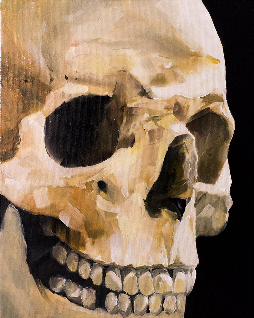 Skull, oil on canvas, 20 x 25 cm, $250 (sold)