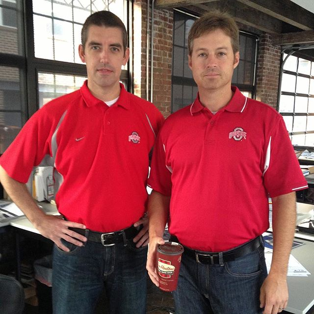 #FlashbackFriday in honor of the Big Ten Championship game today, featuring two of our fearless leaders, Todd and Frank. •  If you need us, we'll be cheering for the Buckeyes in the conference room.  #gobucks #notsponsored #frankjustreallylovestimhortons