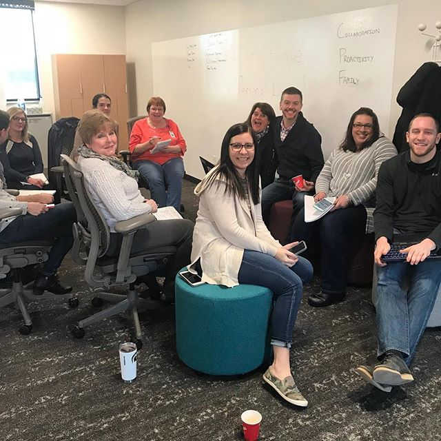 Hooray for happy clients! Phase 5 out of 6 renovations at Ohio Mutual Insurance has completed. These are the beautiful people of the Personal Lines Underwriting department who moved into their new space this morning, and are already using their collaborative station. It makes our designer hearts happy to see users get comfortable in their new place!  #inthecollaboratory