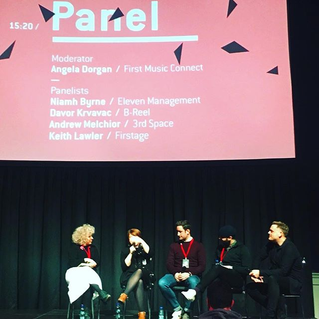 Check out @gorillaz manager Niamh Byrne teaching @keithlawler from Firstage, Davor from @breelfilms and Andrew from @bjork Digital and @angeladorgan of @first_music_contact how to throw a decent punch. @dublinfilmfestival #augmentedreality #ar #adiff