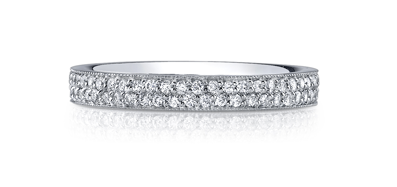 french wedding wb bands round pave eternity band gold platinum diamond melee pav white in