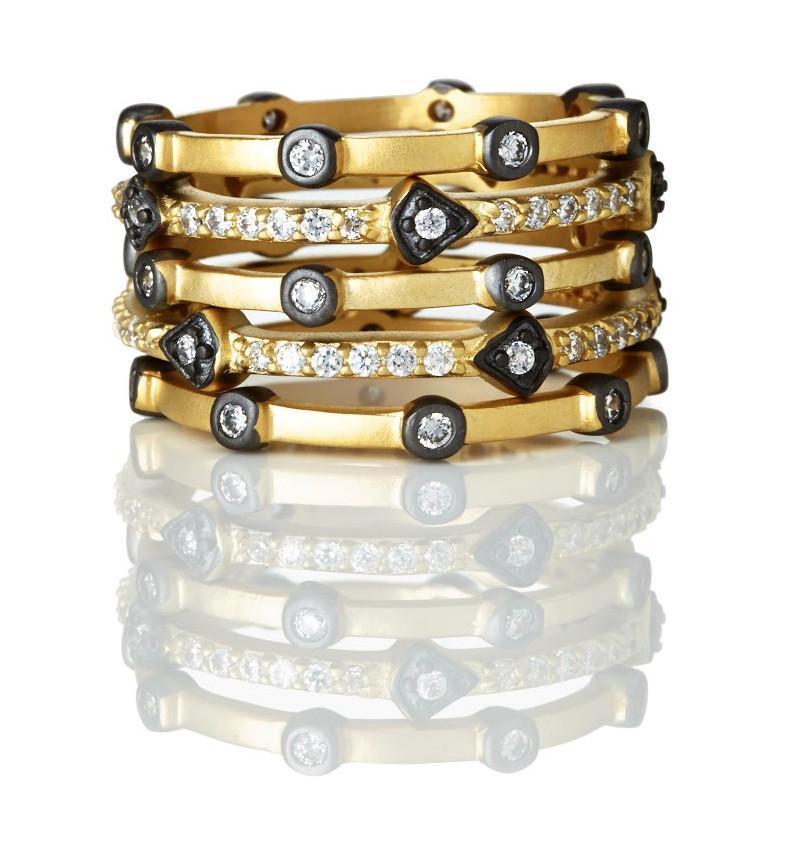 4a1e2e94f68df Freida Rothman Mixed Thin Bezel Set of 5 Rings