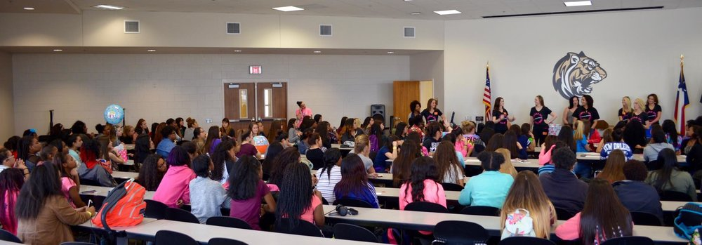 Conroe highschool sisterhood squad meeting