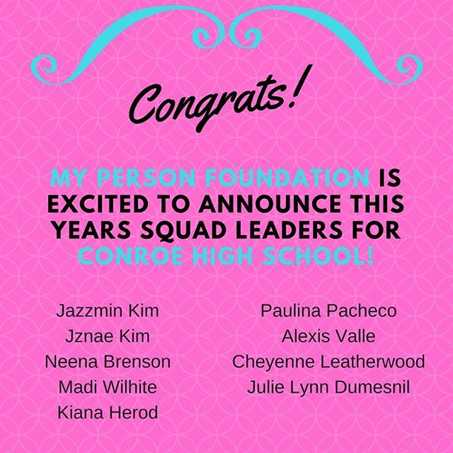 CONROE HIGH SCHOOL SISTERS!!!! Congrats on our 2017-2018 MPF Squad Leaders! Your big sisters love you!  Start brainstorming on ideas for the 2017-2018 school year! 💗 See everyone next meeting November 17th. 5th period in the LGI 🐯