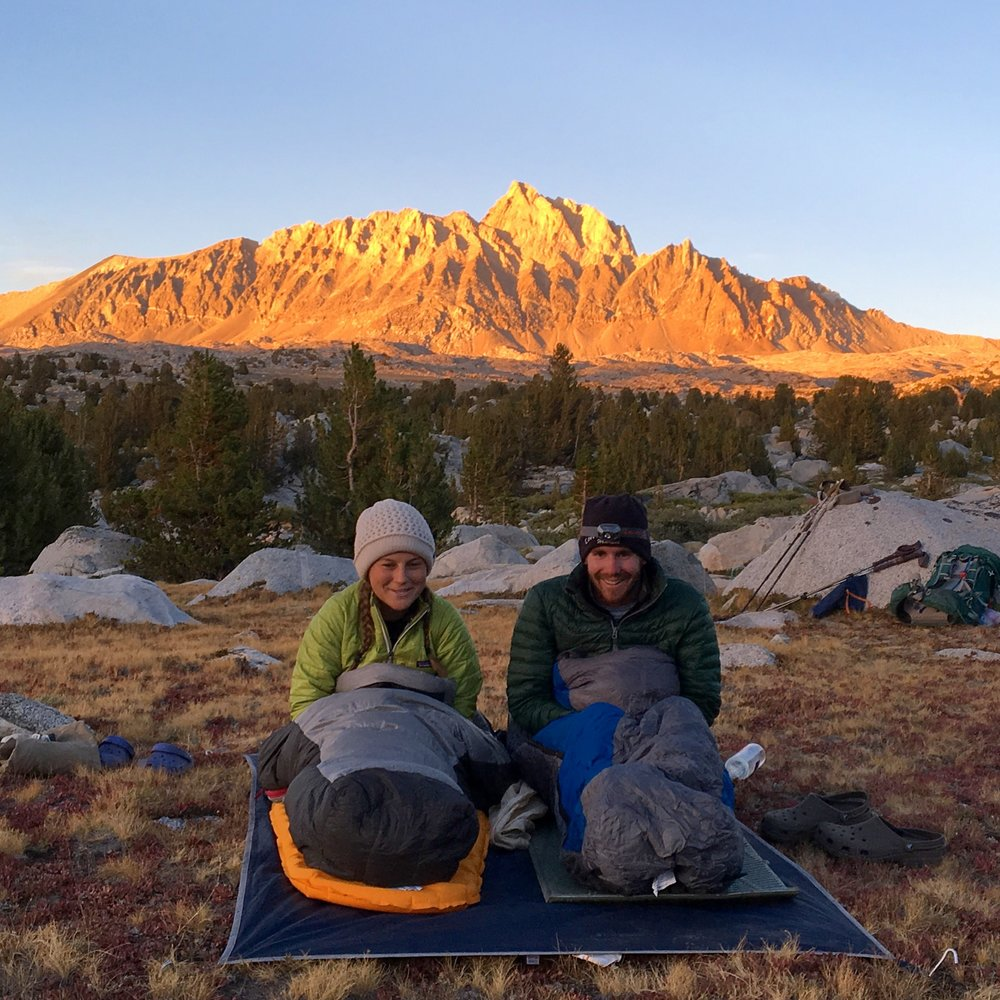 Cara and I elected to celebrate the last night of our trip by sleeping under the stars without a tent. We woke up the next morning with a thick layer of frost on our sleeping bags.