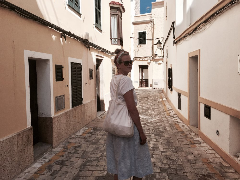My sister in the streets of Ciutadella