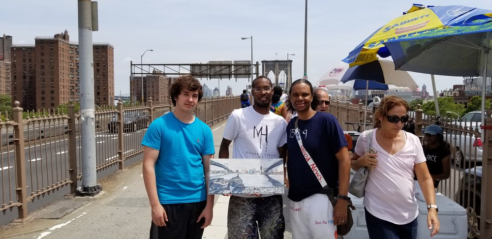 Painting that I SOLD this past weekend from my art portfolio to these two guys (on left and right side of me) I met on the bridge.