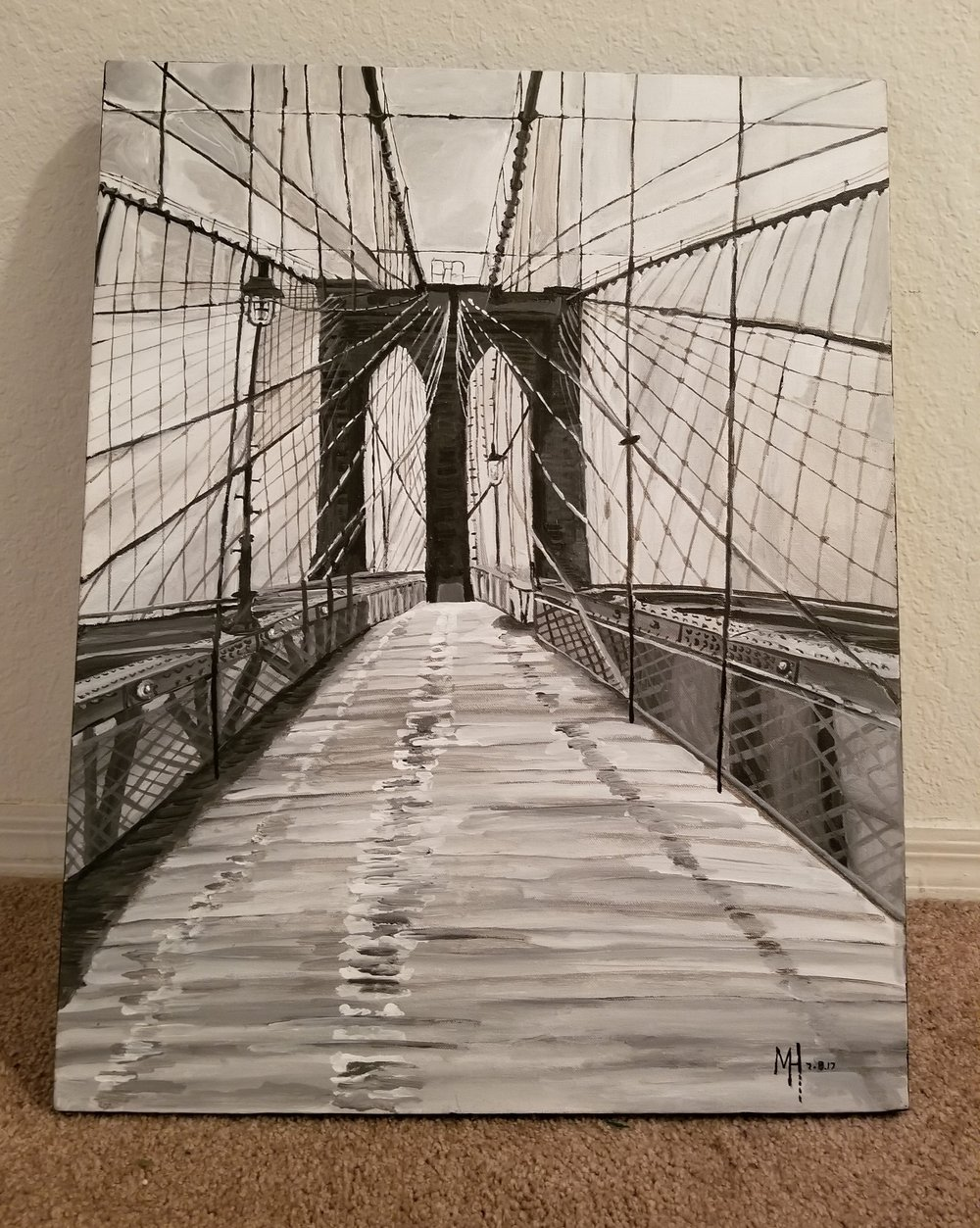 This what it look like when the en plein air live painting of the Brooklyn Bridge Walk was finished.
