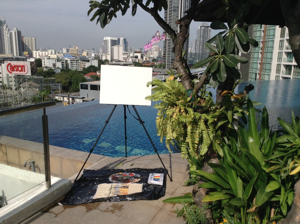 Setting up my   live painting show   at the skywalk condo resort apartment/Airbnb on top of the rooftop in Bangkok, Thailand.