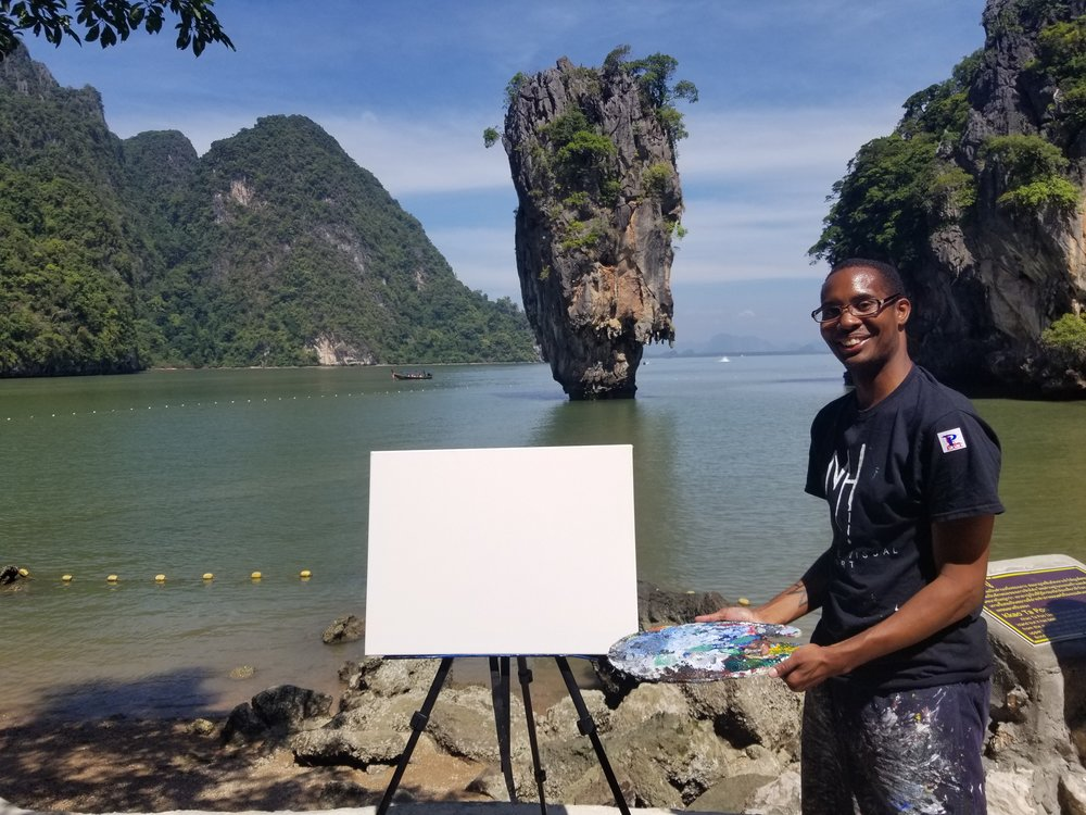 Me setting up at the James Bond Island in Phuket, Thaliand (Province).