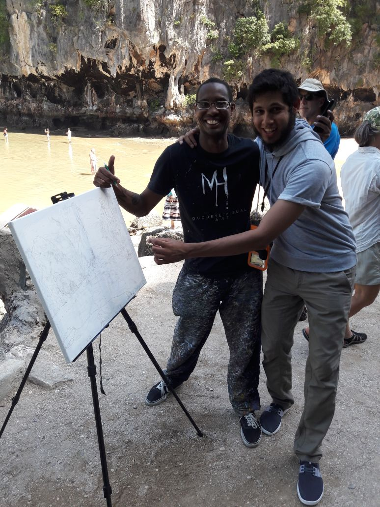 I met a new best friend on the Island tour and he decided to take a photo with me by my new unfinished painting I was working on.