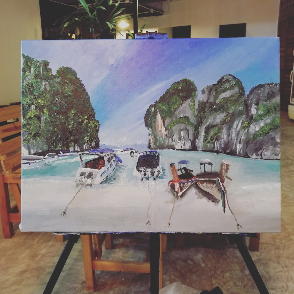 The finish live painting product I did of the Maya Bay Beach/Phi Phi Island in Phuket, Thailand.