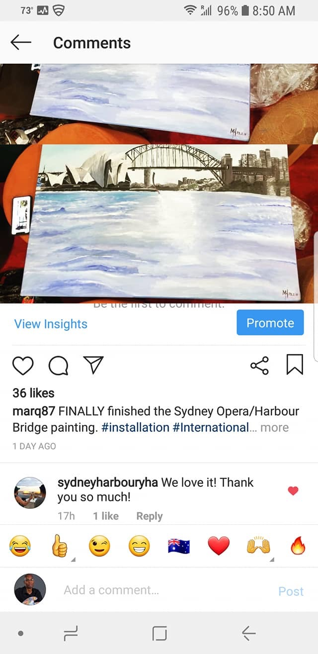 The finished painting project of the Sydney Opera Harbour Bridge I sold to the Hostel I was staying at in Sydney.