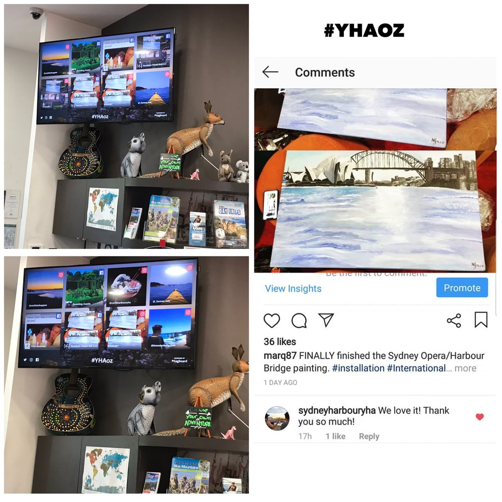 The Sydney Harbour YHA Hostel share my Painting I donated to them on their social media and display it on there flatscreen TV.