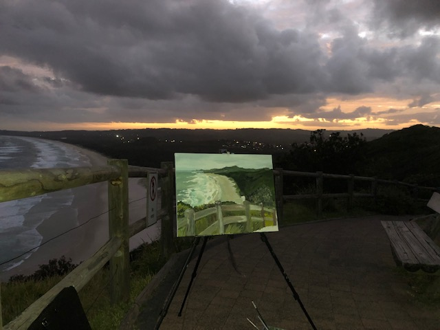 The finished painting project of the Byron Cape conversation view/Tallow Beach at Byron Bay, NSW
