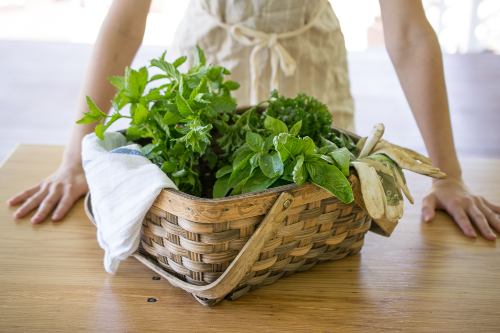 Daily baskets of fresh herbs and produce from the garden inspire many of our dishes.