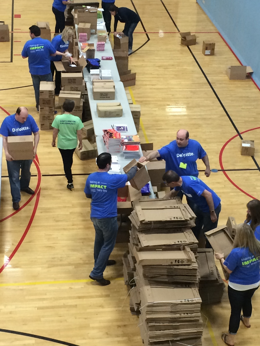 Deloitte Employees Participating in Build-A-Kit
