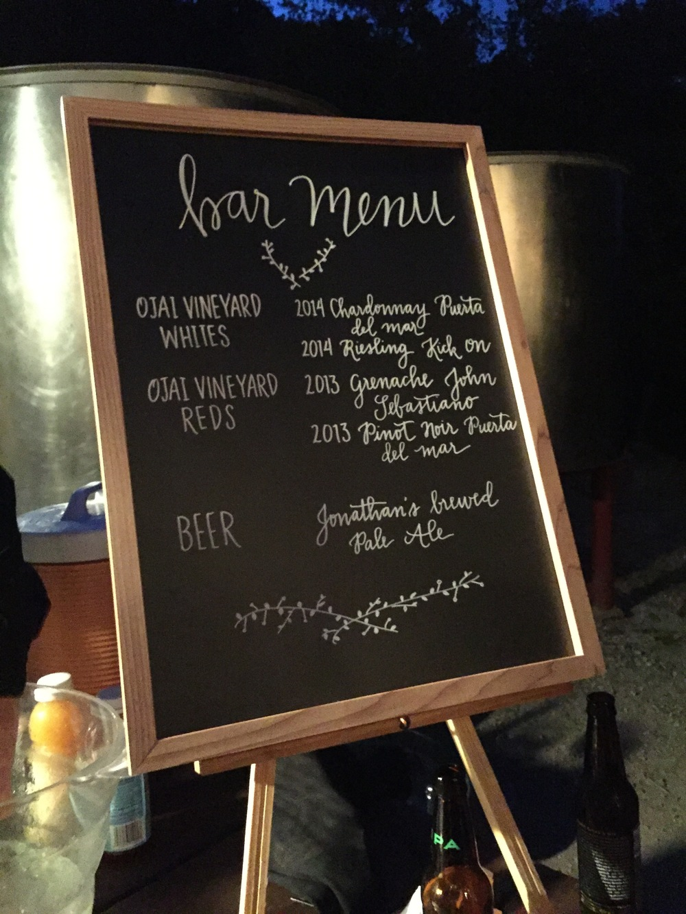 Bar menu on chalkboard.  All the wine was supplied on sight from the Ojai Vineyard, their family vineyard. The beer was brewed by another cousin who lives down the street.