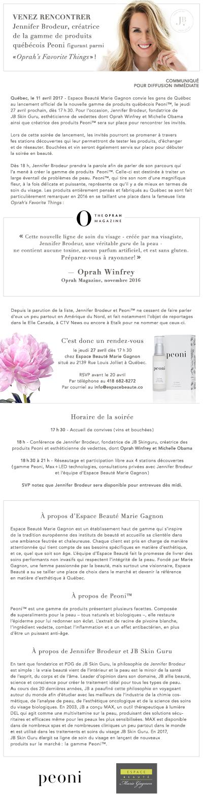 Espace Beauté Marie Gagnon - 11 avril 2017