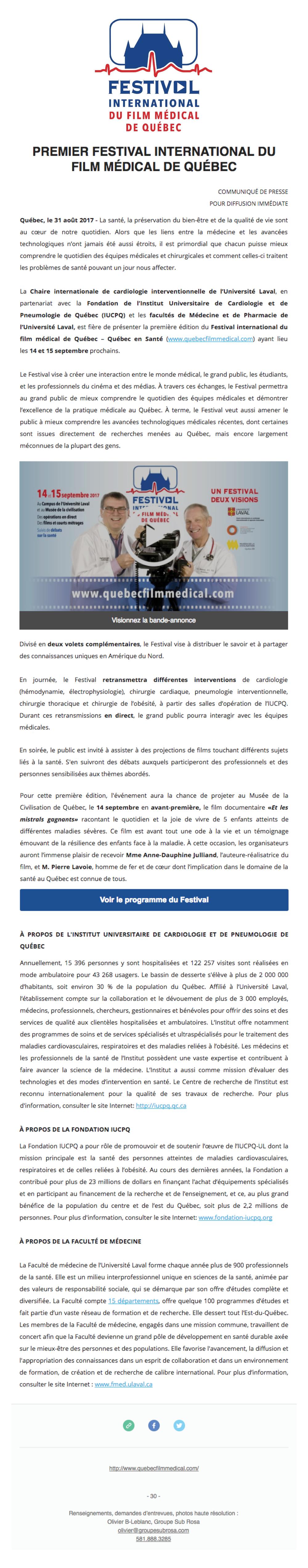 Festival international du film médical de Québec 2017 - 31 août 2017