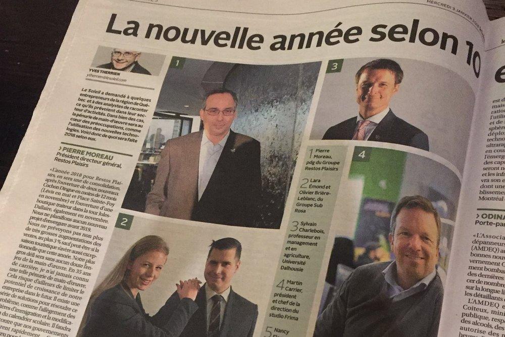 Main-d'œuvre, techno et Cie:Ce que réserve 2018 - Le Soleil / January 2018