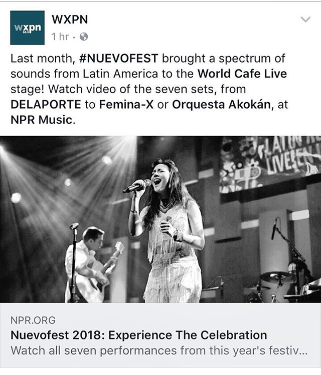You can now watch our full performance from NuevoFest 2018 at @worldcafelive!! This performance in Philadelphia was a dream come true and we feel blessed to have been a part of it 🙌🏽 @delaporte.music @wxpnfm @orquestaakokan @afrotainoprod 🎶✨🙌🏽🎤💗
