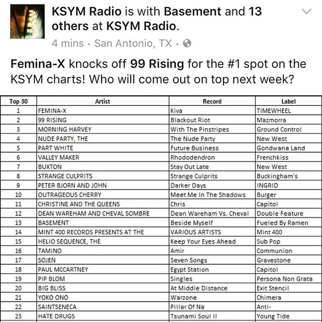 "Our latest album ""KIVA"" is now #1 on the charts at @ksymradio !! 🙌🏽✨🌿♥️ we are so elated!! Thank you!!"