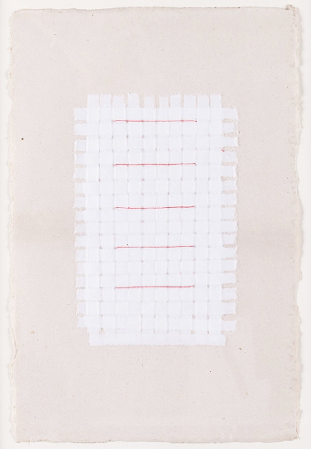"Paper Weaving with Red Thread. 2008. Paper & Thread. 11"" x 9"""