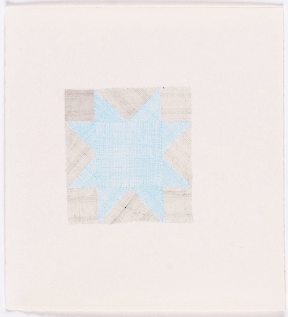 "Quilt Square in Blue. 2009. Color Pencil on Paper. 14"" x 13"""