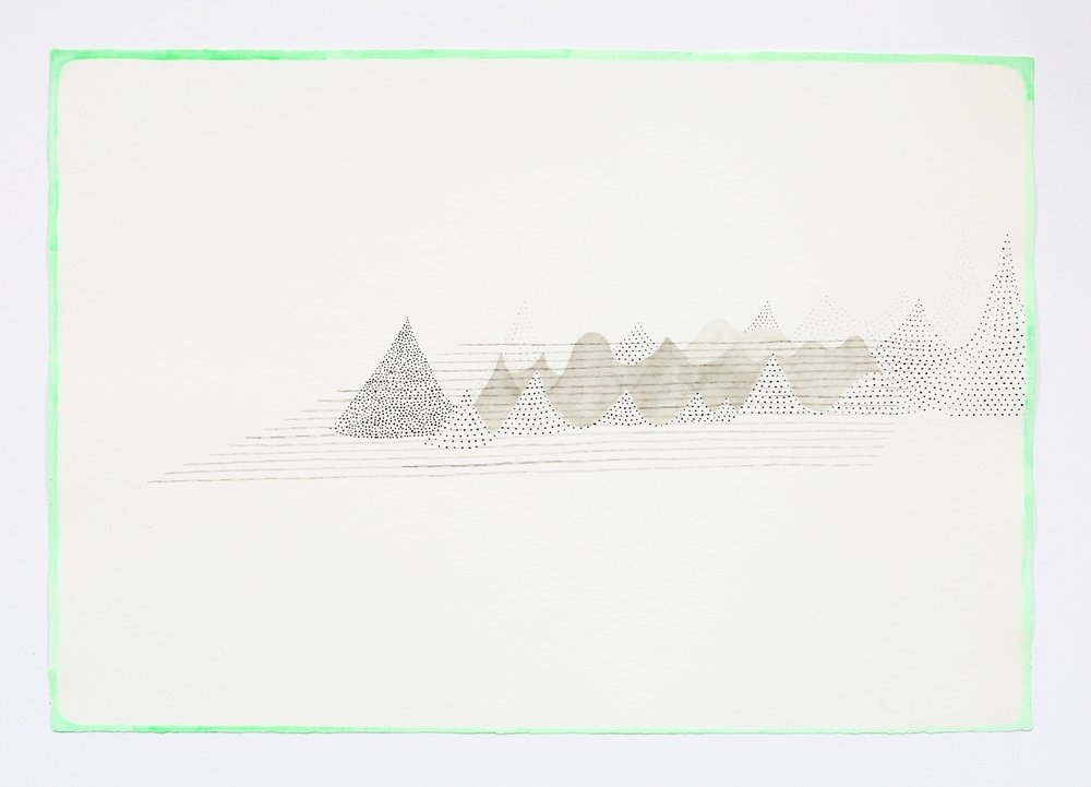 "Mountain Range. 2011. Ink on paper. 11"" x 17"""
