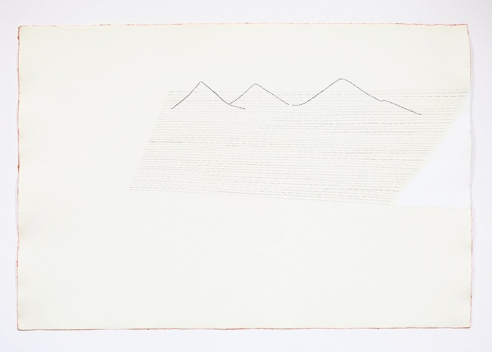 "Three Mountains. 2011. Ink on paper. 11"" x 17"""