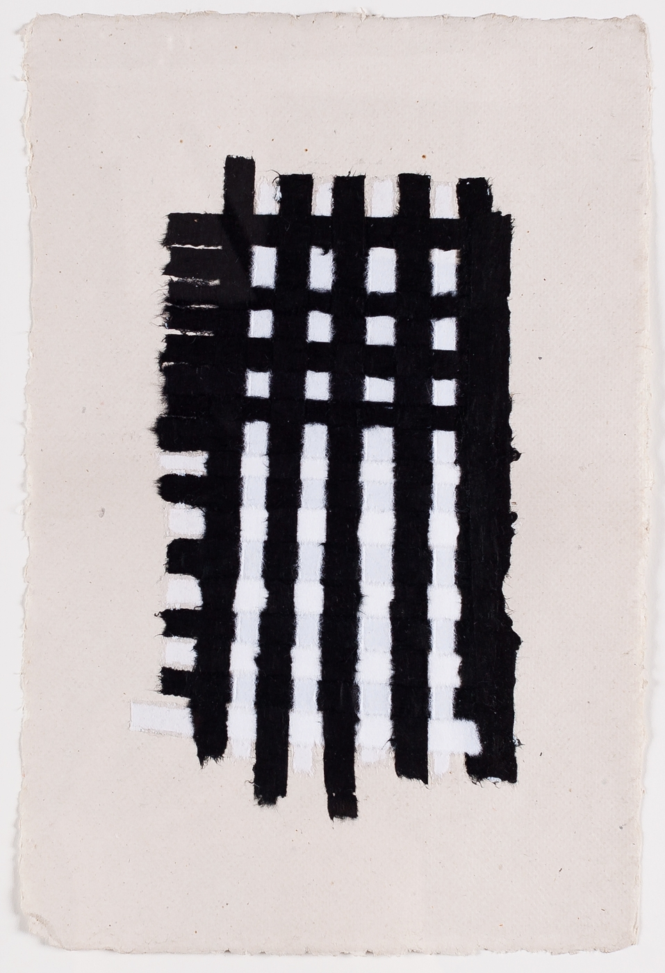 "Black and White Weaving. 2015. Paper and Glue. 13"" x 10"""