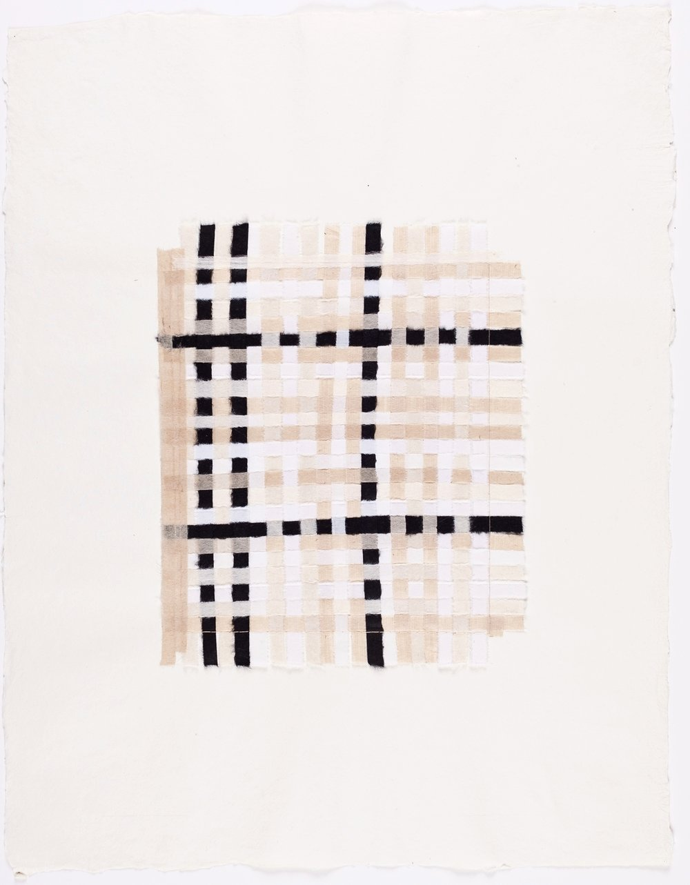 "Black, White & Brown Weaving. 2015. Paper and Glue. 13"" x 10"""