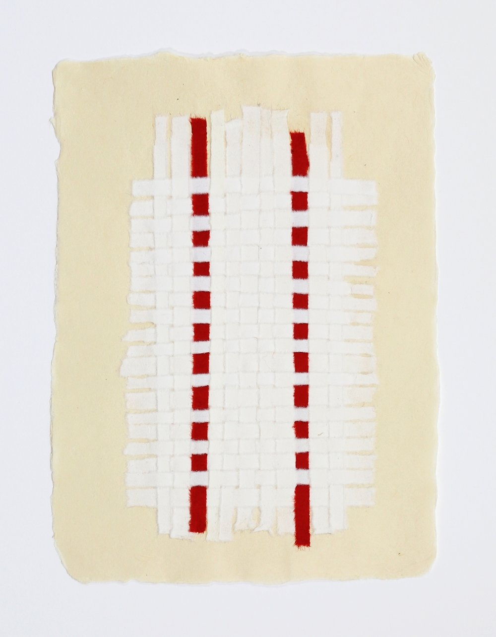 "White Weaving with Two Red Stripes. 2015. Paper, Glue and Dye. 13"" x 10"""