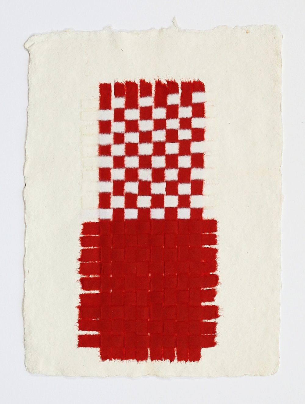 "Red and White Weaving. 2015. Paper, Glue and Dye. 13"" x 10"""