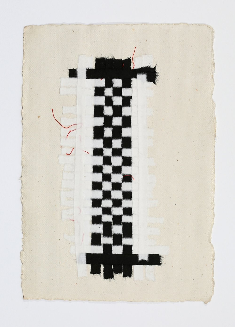 "Black and White Weaving with Red Thread. 2015. Paper, Glue and Thread. 13"" x 10"""
