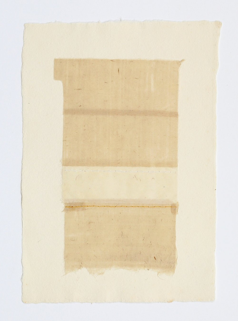 "Paper Hanging with Yellow Thread. 2015. Paper, Glue and Thread. 13"" x 10"""