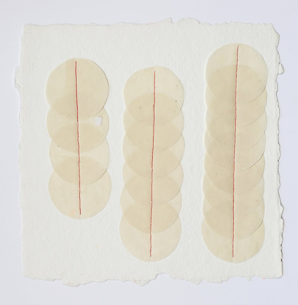 "Three Columns. 2015. Paper and Thread. 12"" x 12"""