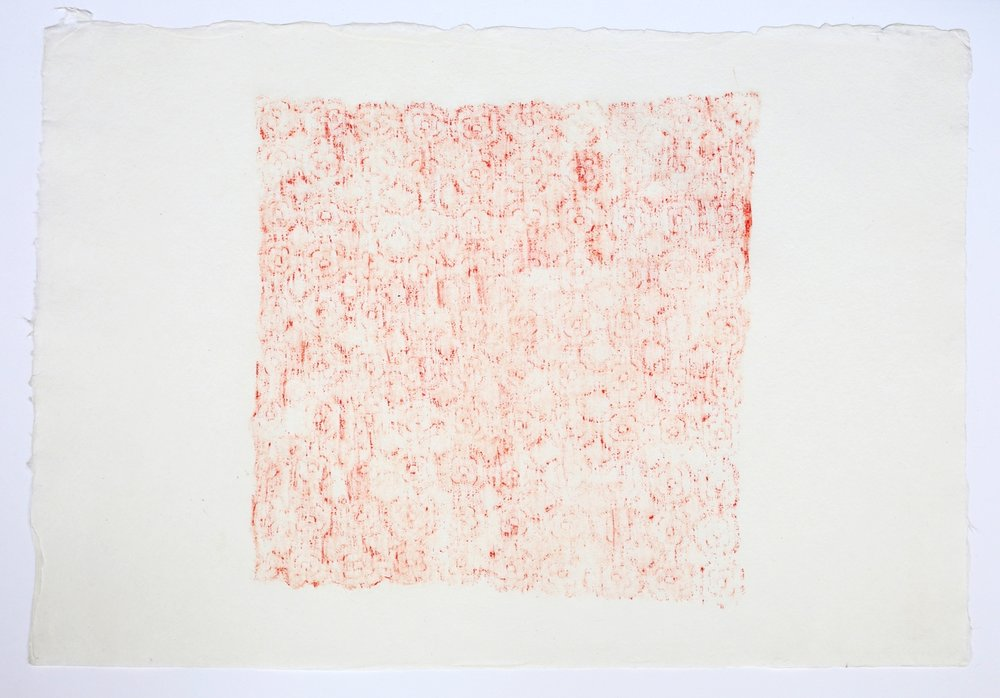 "Handkerchief. 2015. Crayon on Paper. 11"" x 17"""