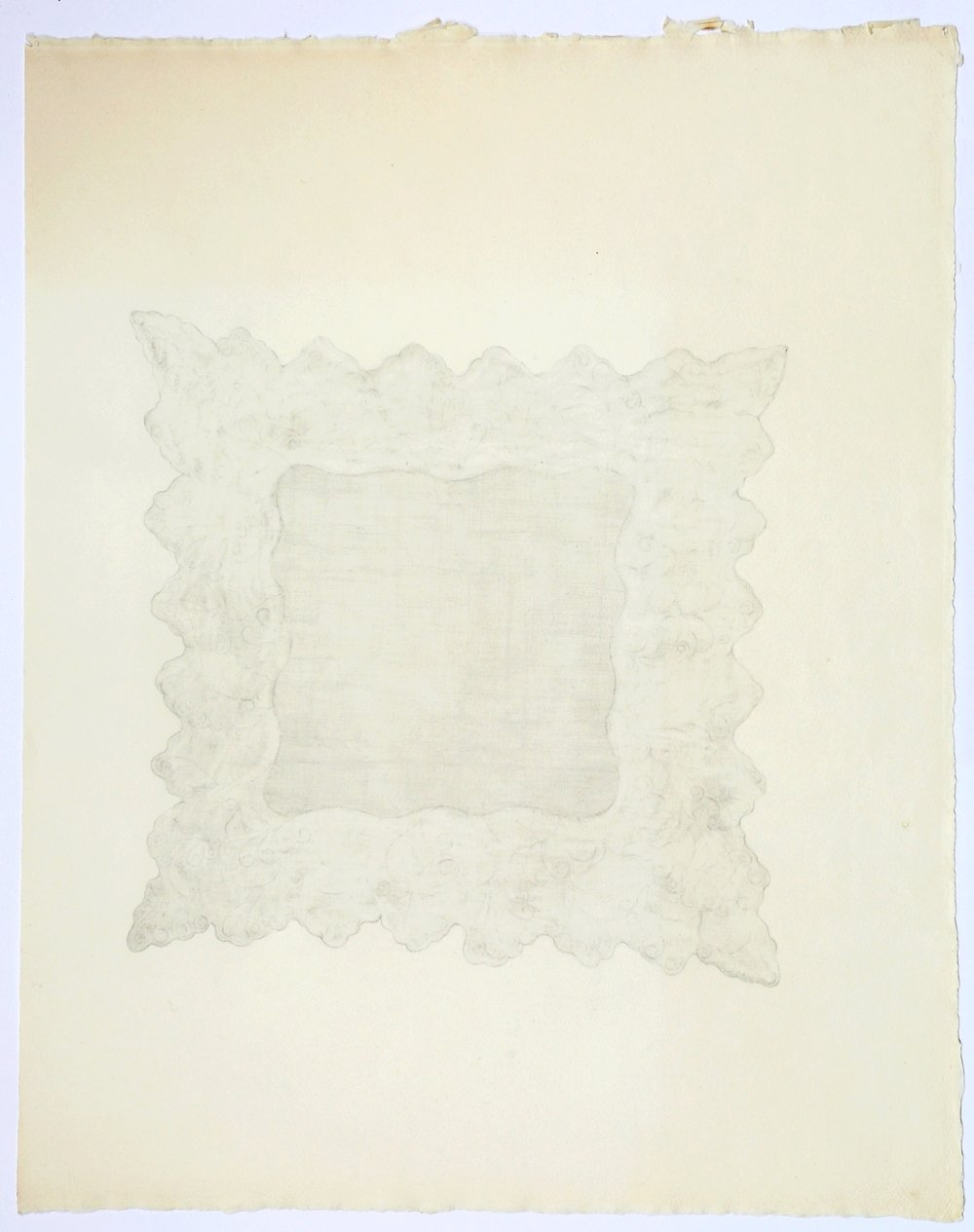 "Lace Handkerchief. 2015. Pencil on Paper. 26"" x 19"""