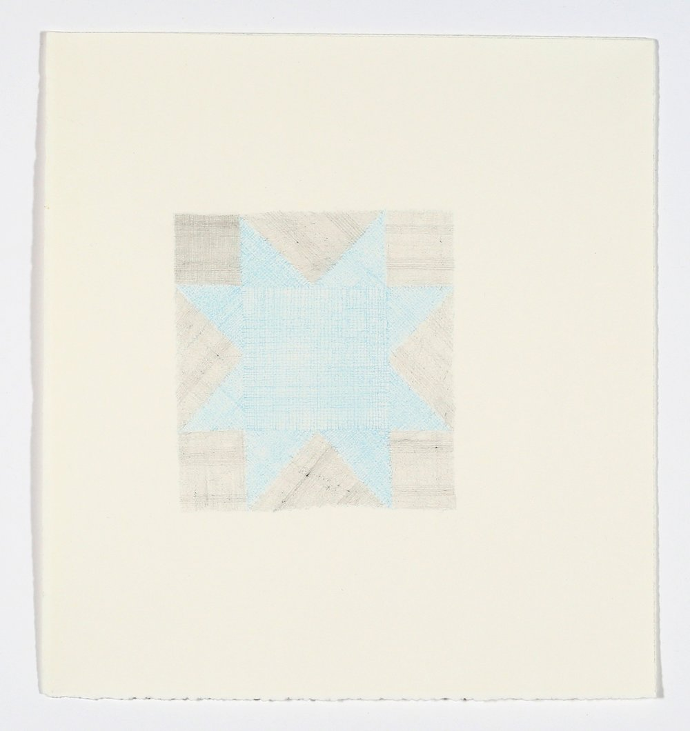 "Quilt Square No. 2. 2015. Pencil and Colored Pencil on Paper. 14"" x 13"""