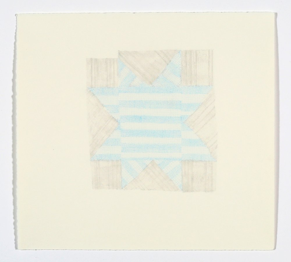 "Quilt Square No. 3. 2015. Pencil and Colored Pencil on Paper. 14"" x 13"""