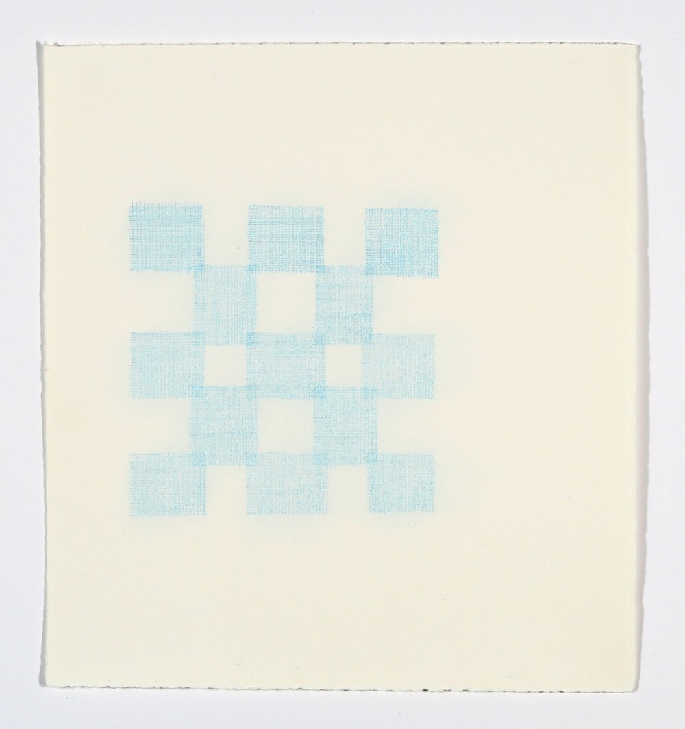 "Quilt Square No. 4. 2015. Colored Pencil on Paper. 14"" x 13"""