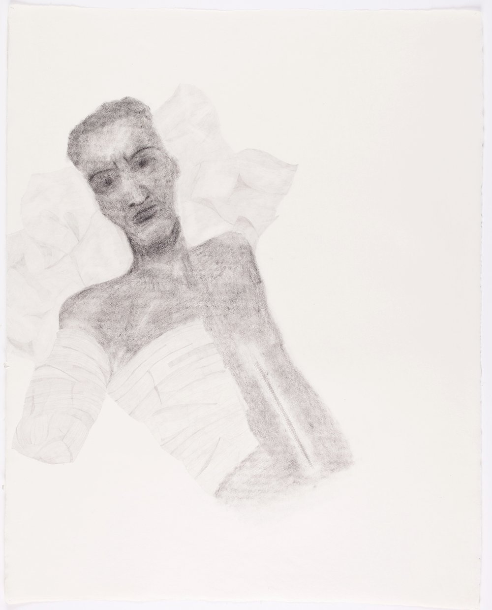 "Bandaged Soldier No.3 . 2003. Pencil on Paper. 26"" x 21"""
