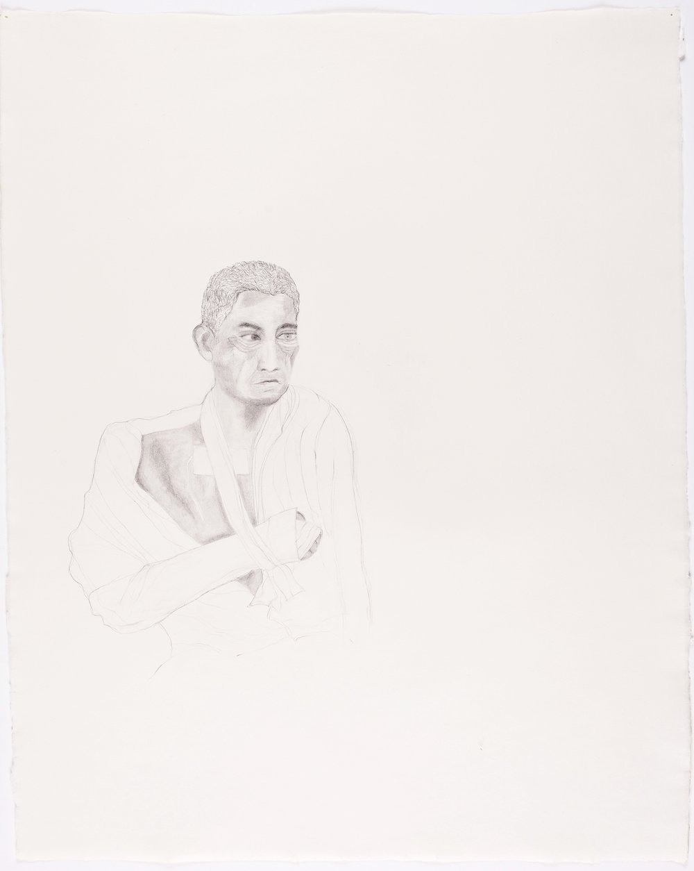 "Bandaged Soldier No. 4. 2003. Pencil on Paper. 26"" x 21"""