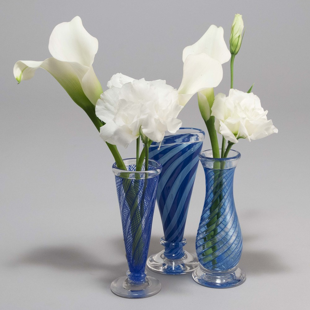 673451f404e Clear Blue Mini Vases — Almost Perfect Glass