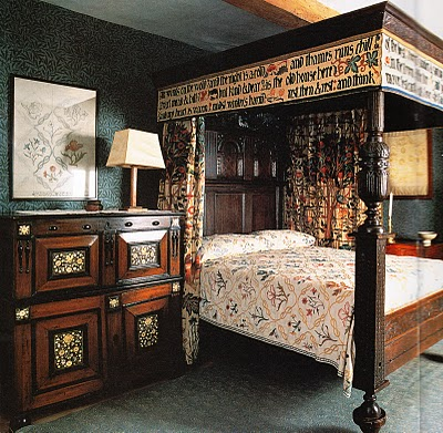 A little later, but William Morris' famous Arts & Crafts bed at Kelmscott Manner is lavishly embroidered with the motif of a poem he loved.