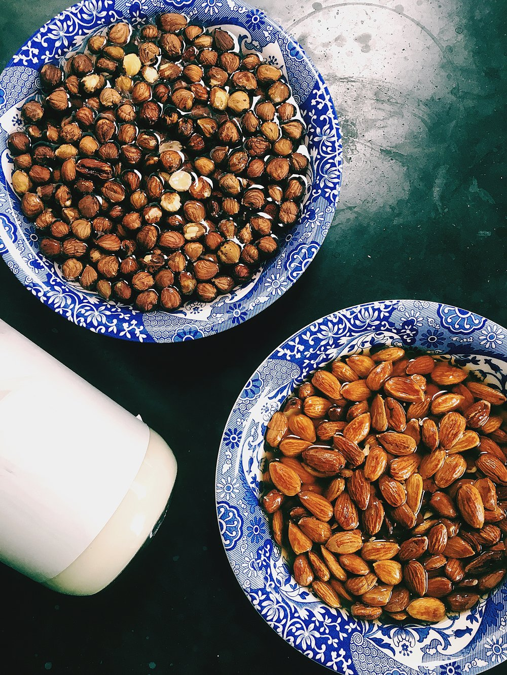Hazelnuts & Almonds...with a peek at some home made almond milk kefir